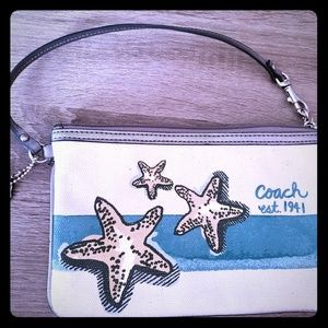 Coach canvas starfish wristlet